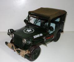 Historické plechové auto vojenský jeep 38cm