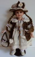 Porcelánová panenka  Eva - vinyl- 53 cm otáčecí hlava