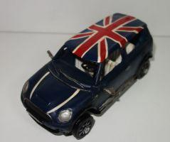 Kovové, historické auto v modré barvě (0990081)